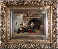 """At the Inn"", 19th Century Oil on Wood Panel by Spanish Artist José Benlliure"