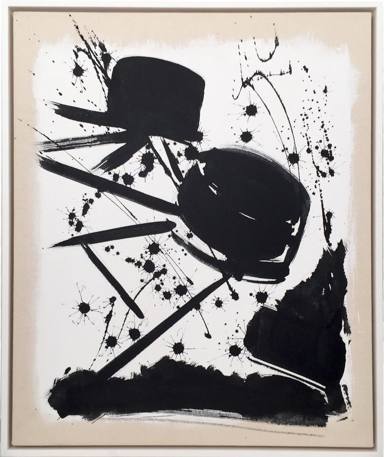 Jose Buelo, Untitled, Black and White Abstract on Canvas, 2018 - Abstract Expressionist Painting by Jose Buelo