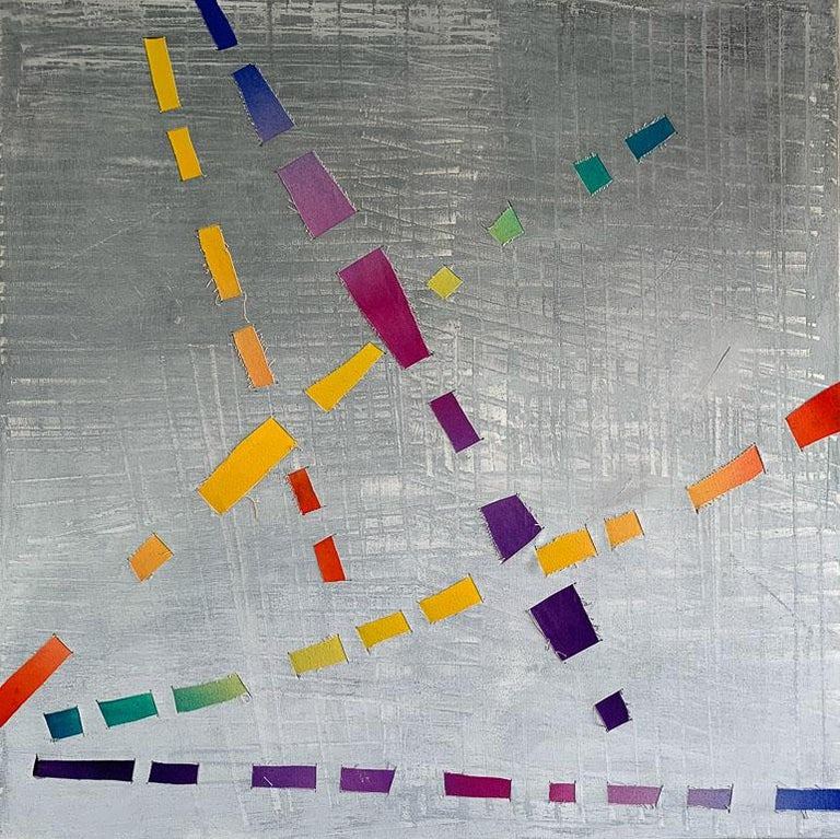 Dream Weaver, colorful woven canvas triptych - Painting by Jose Castro