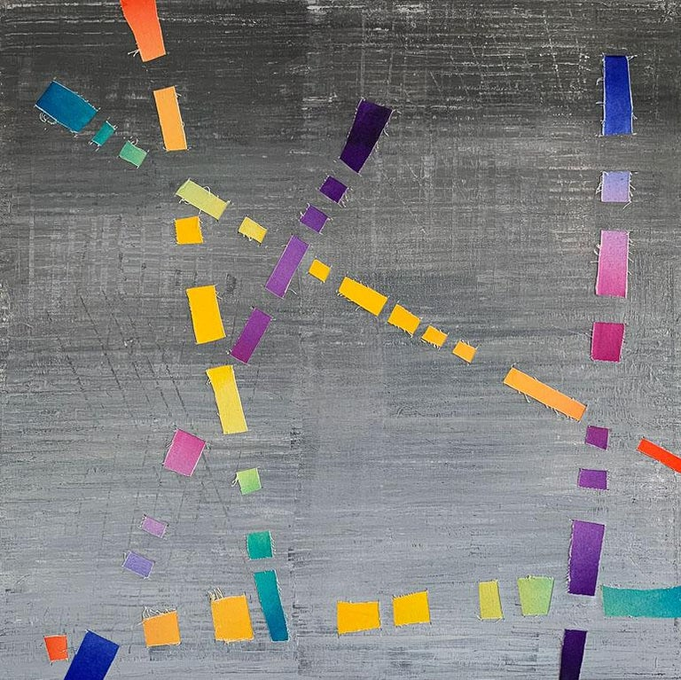 Dream Weaver, colorful woven canvas triptych - Gray Abstract Painting by Jose Castro
