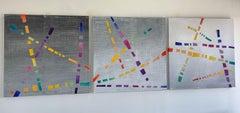 Dream Weaver, colorful woven canvas triptych
