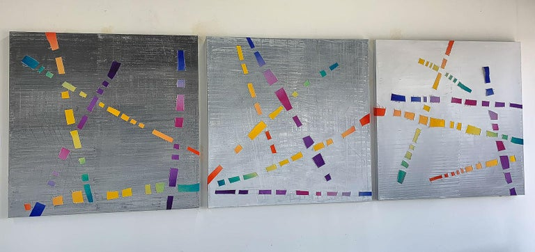 Jose Castro Abstract Painting - Dream Weaver, colorful woven canvas triptych