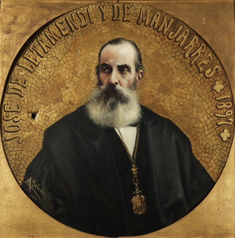 Peña Muñoz, Maximino (Salduero, Soria, 1863 – Madrid, 1940). Oil on canvas. Signed, dated (1898) and titled. For the realization of this work, Maximiliano Peña was based on a photograph taken in 1897, the year of the death of José de Letamendi