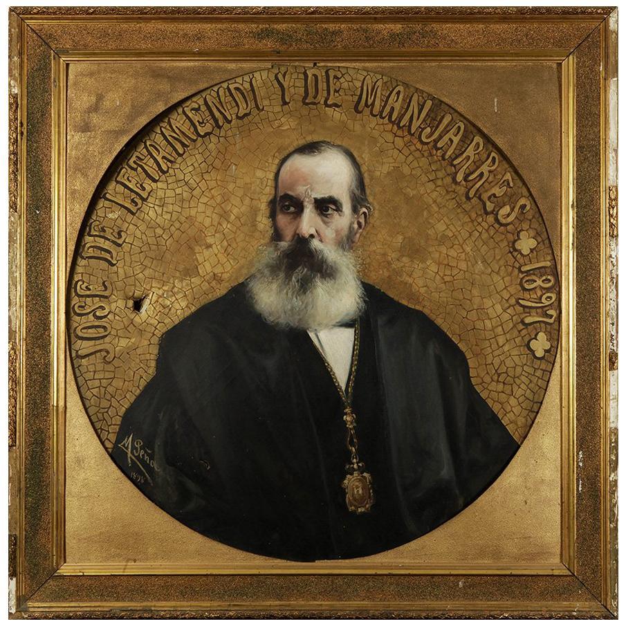 """""""José de Letamendi y de Manjarrés"""", Oil on Canvas, Peña Muñoz, Spain, 1898,"""