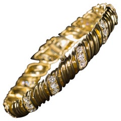 18 Carat Yellow Gold and Diamond Bracelet