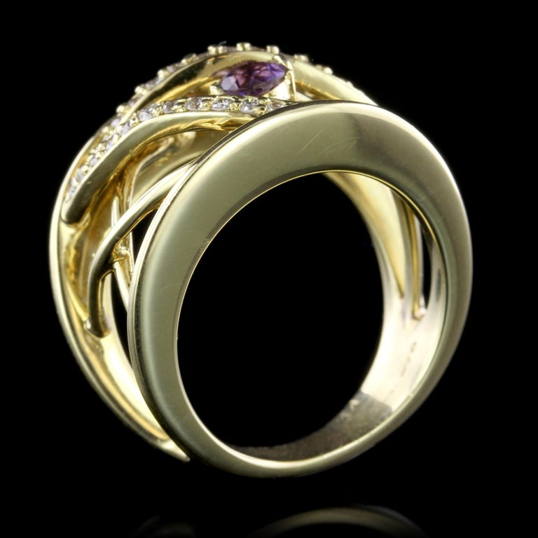Contemporary Jose Hess 18 Karat Yellow Gold Amethyst and Diamond Ring For Sale
