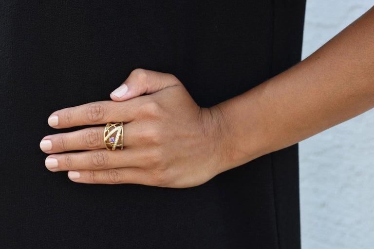 Women's Jose Hess 18 Karat Yellow Gold Amethyst and Diamond Ring For Sale