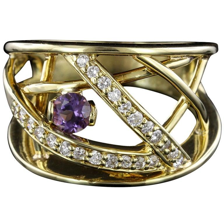 Jose Hess 18 Karat Yellow Gold Amethyst and Diamond Ring For Sale
