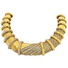 Jose Hess 18 Karat Yellow Gold Diamond Bib Collar Heavy Necklace