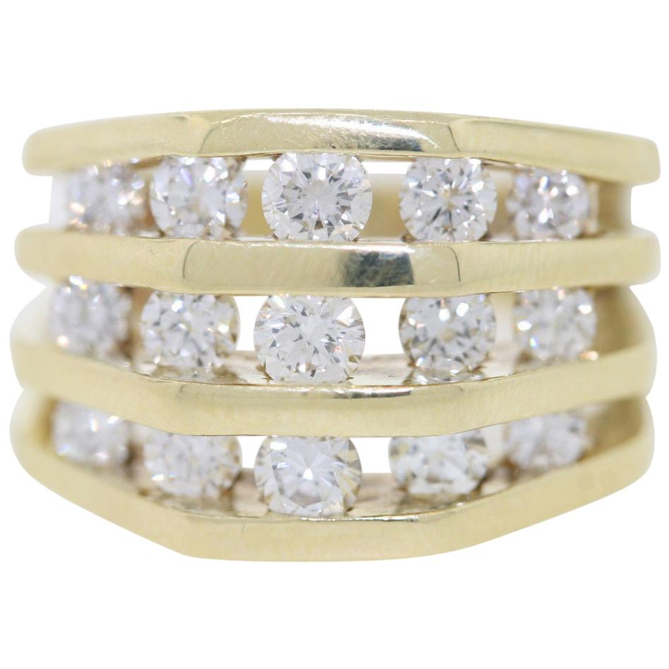 Jose Hess 2.6 Carat Diamonds Unisex 3-Row Diamond Yellow Gold Band Ring