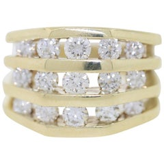 Jose Hess 2.6 Carat Diamonds Unisex 3-Row Diamond Yellow Gold Band Ring