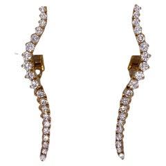 Jose Hess Diamond 18 Karat Yellow Gold Drop Lever-Back Earrings
