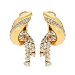 Jose Hess Diamond and 18 Karat Gold Earrings