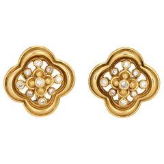 Jose Hess Diamond Earrings Vintage 18k Yellow Gold Quatrefoil Design Jewelry