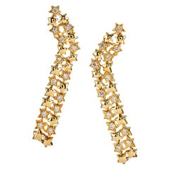 Jose Hess Diamond Star Cascade Earrings