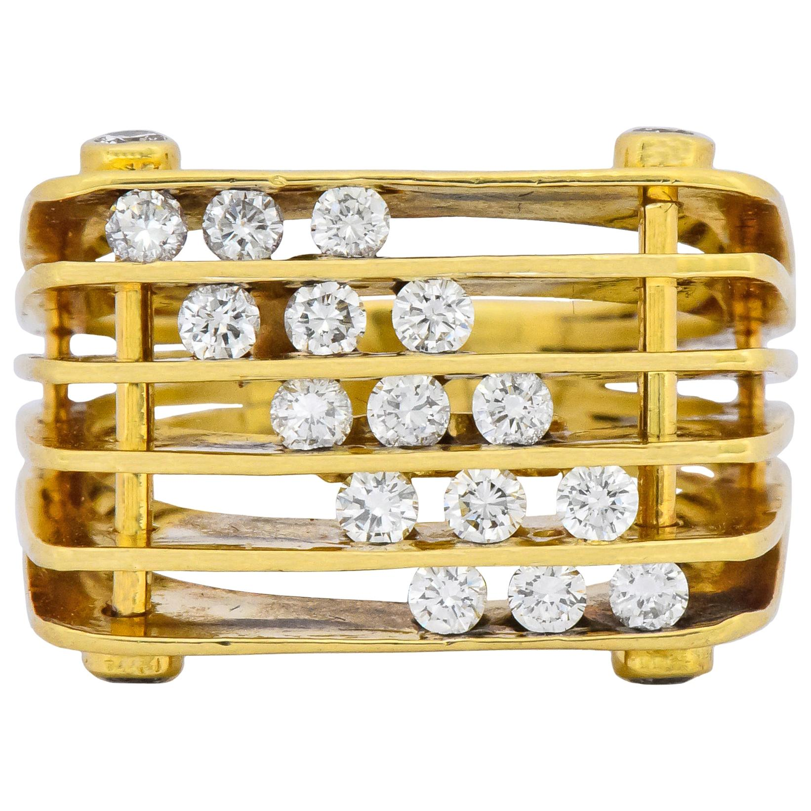 Jose Hess Modernist 0.87 Carat Diamond 18 Karat Gold Ring