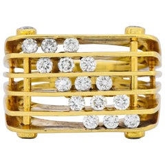 Jose Hess Modernist 0.87 Carat Diamond 18 Karat Gold Ring