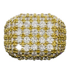 Jose Hess Yellow Gold 6.87 Carat Round Diamond Statement  Ring