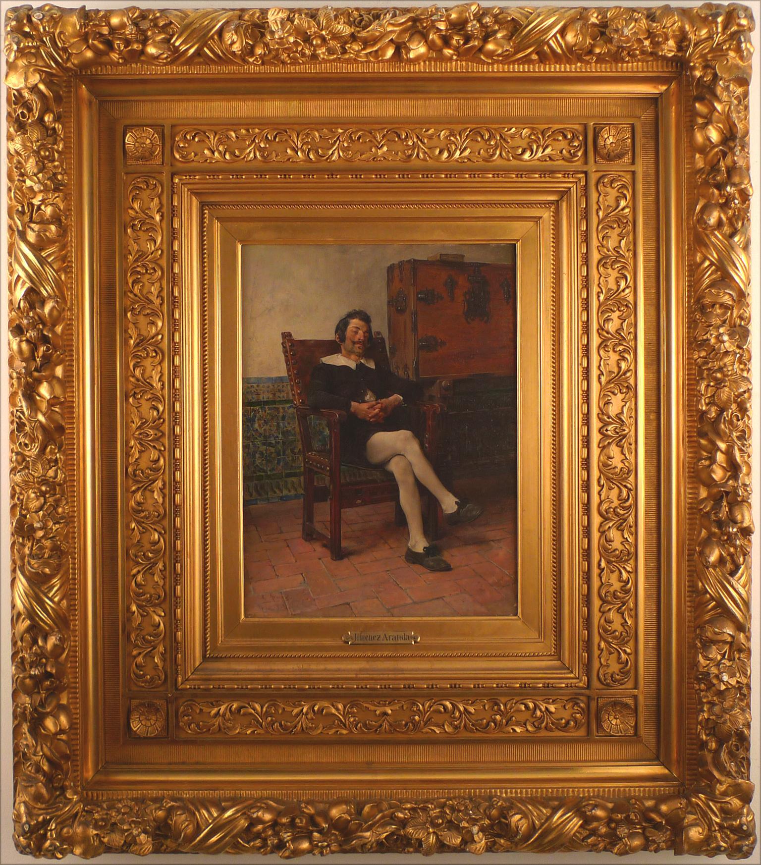 """A Moment of Repose, 1884"" 19th Century Oil on Wood Panel by José Jiménez Aranda"