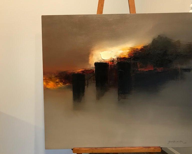 Paisaje de los dioses del Sol/Landscapes of the Sun Gods XII - Painting by José Luis Bustamante
