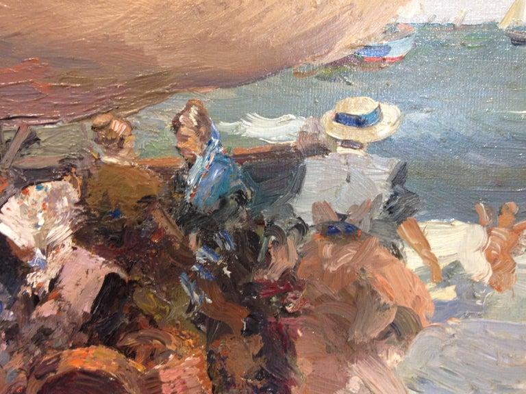 Valencia beach scene - Post-Impressionist Painting by José Luis Checa