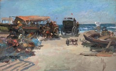 Valencia beach scene seascape original oil on board painting