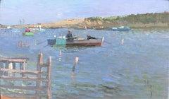 Valencia river scene seascape original oil on board painting