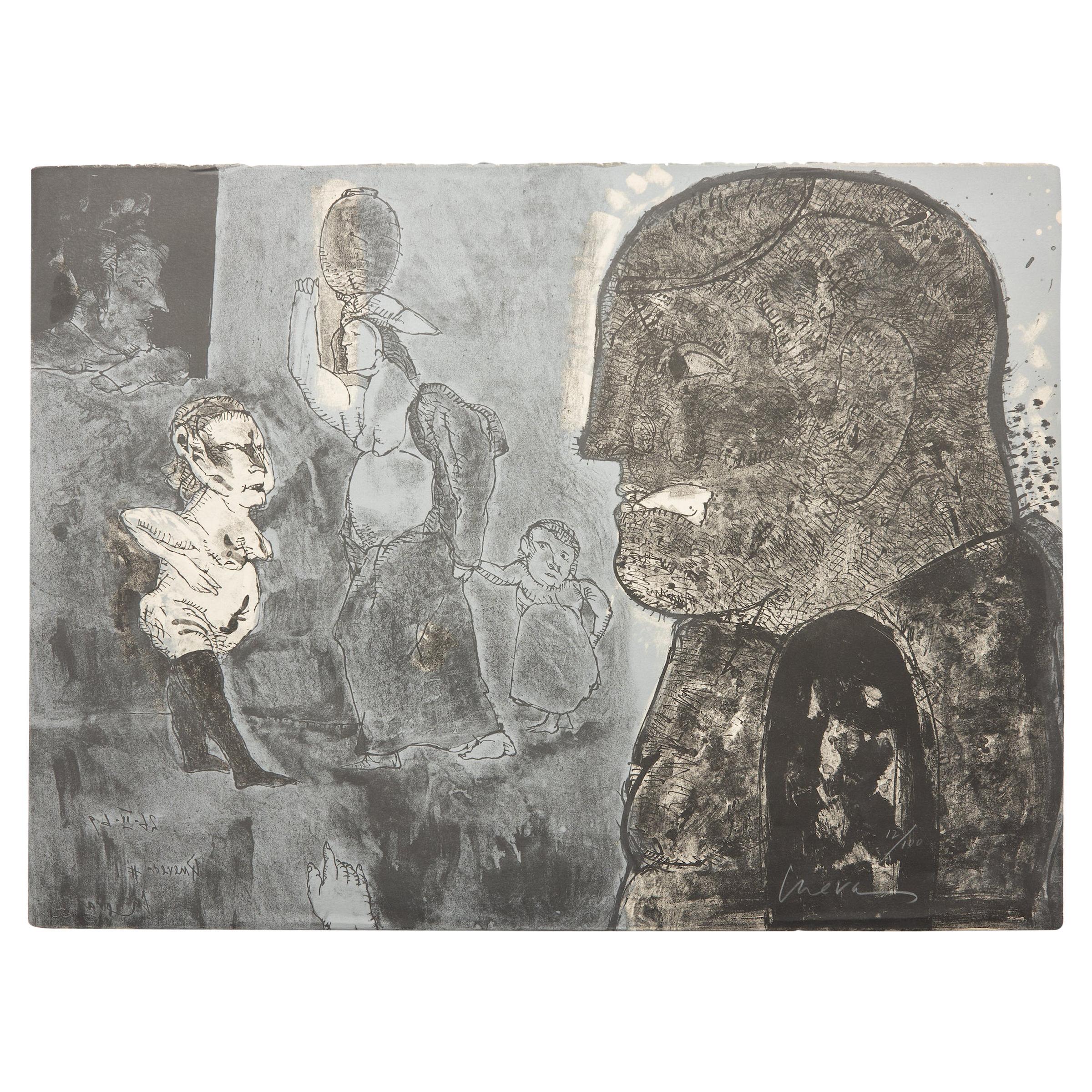 """Jose Luis Cuevas  Aquatint """"Lo Feo De Este Mundo II"""" 1969 Homage To Quevado"""