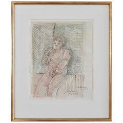 """Jose Luis Cuevas, """"Autorretrato en el Jardin,"""" Ink Drawing/Watercolor, 1973"""