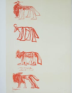 """Four Animals,"" Color Lithograph signed by Jose Luis Cuevas"