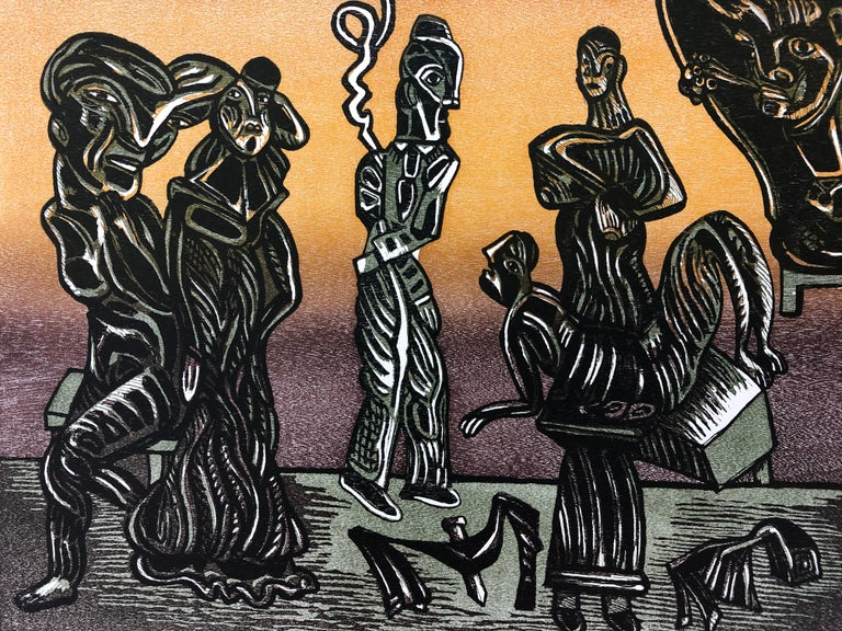 "José Luis Cuevas Figurative Print - JOSE LUIS CUEVAS, Suite ""About Life VII"", Mexican Master Fine Art Woodcut Signed"
