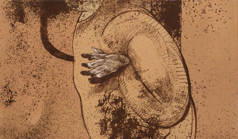 The Giants - Beige Figurative Print by José Luis Cuevas