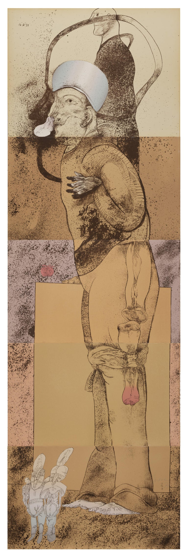 José Luis Cuevas Figurative Print - The Giants