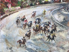 Horse race oil on canvas painting