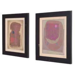 Jose Luis Serrano Mexico City 1980s Pair of Abstract Art Paintings Mixed-Media