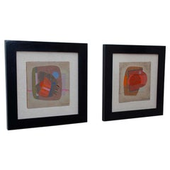 Jose Luis Serrano Pair Abstract Paintings Colorful Mixed Media Art, Mexico, 1982