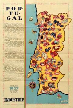 Original Vintage Poster Portugal Industries Map World Fair Paris Art Technology