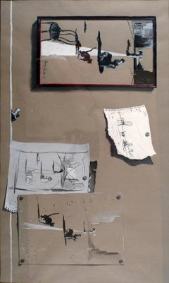 """""""Untitled"""", A Surrealist Mixed Media on Paper by Spanish José Manuel Capuletti"""