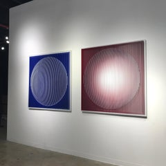 Blue Convexity Red Concavity - kinetic wall sculpture by J. Margulis