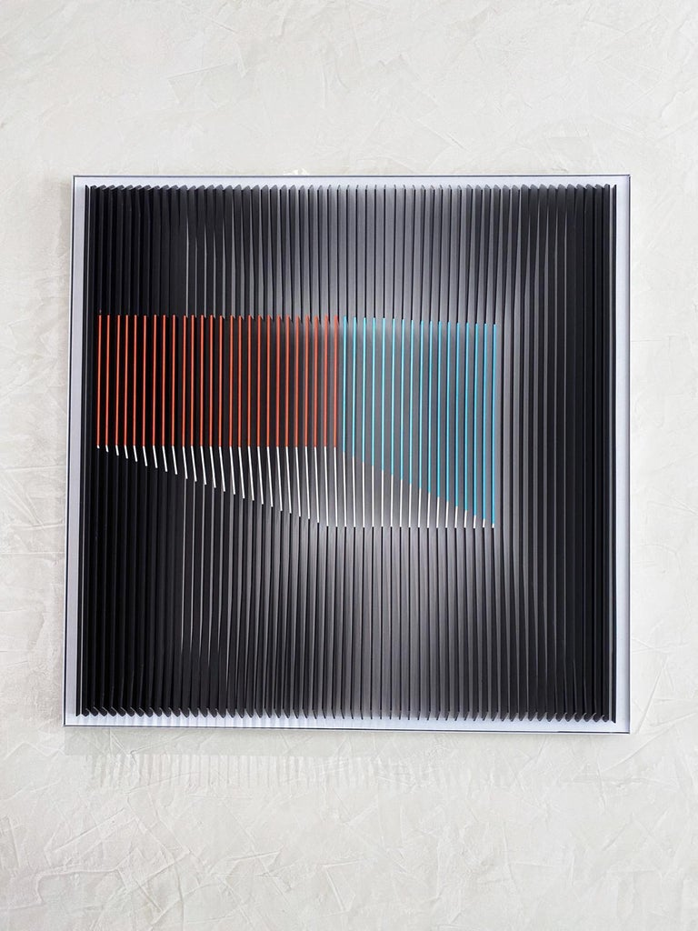 J. Margulis - Displaced Illusion IX - kinetic wall sculpture  - Sculpture by Jose Margulis