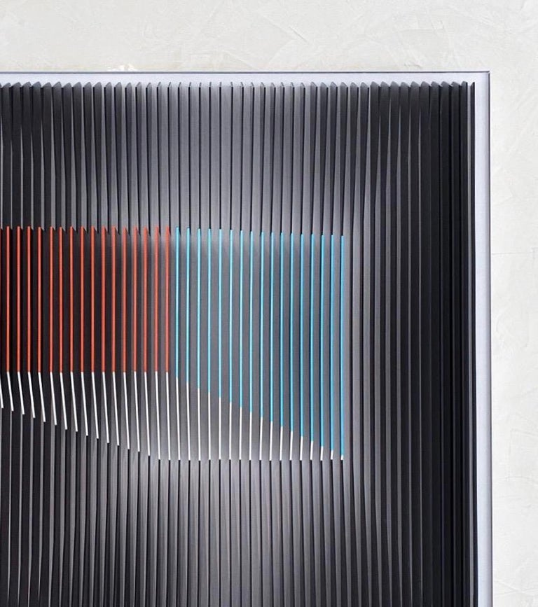 J. Margulis - Displaced Illusion IX - kinetic wall sculpture  - Gray Abstract Sculpture by Jose Margulis