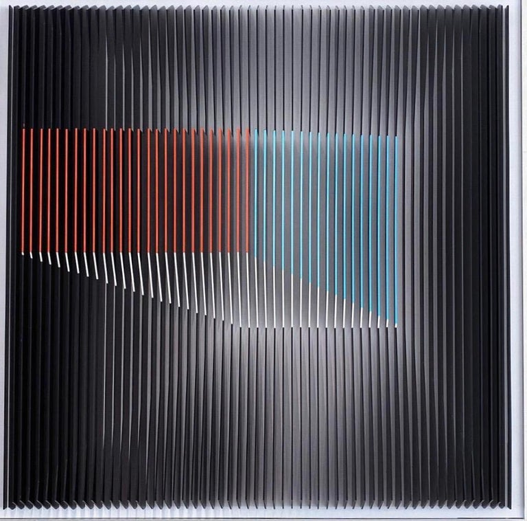 This unique piece by Margulis is from his latest body of works. After assembling the Plexiglas sheets onto the aluminium core, he uses acrylic paints to cover some the front of the sheets.  Margulis' utmost concern is the creation of geometric