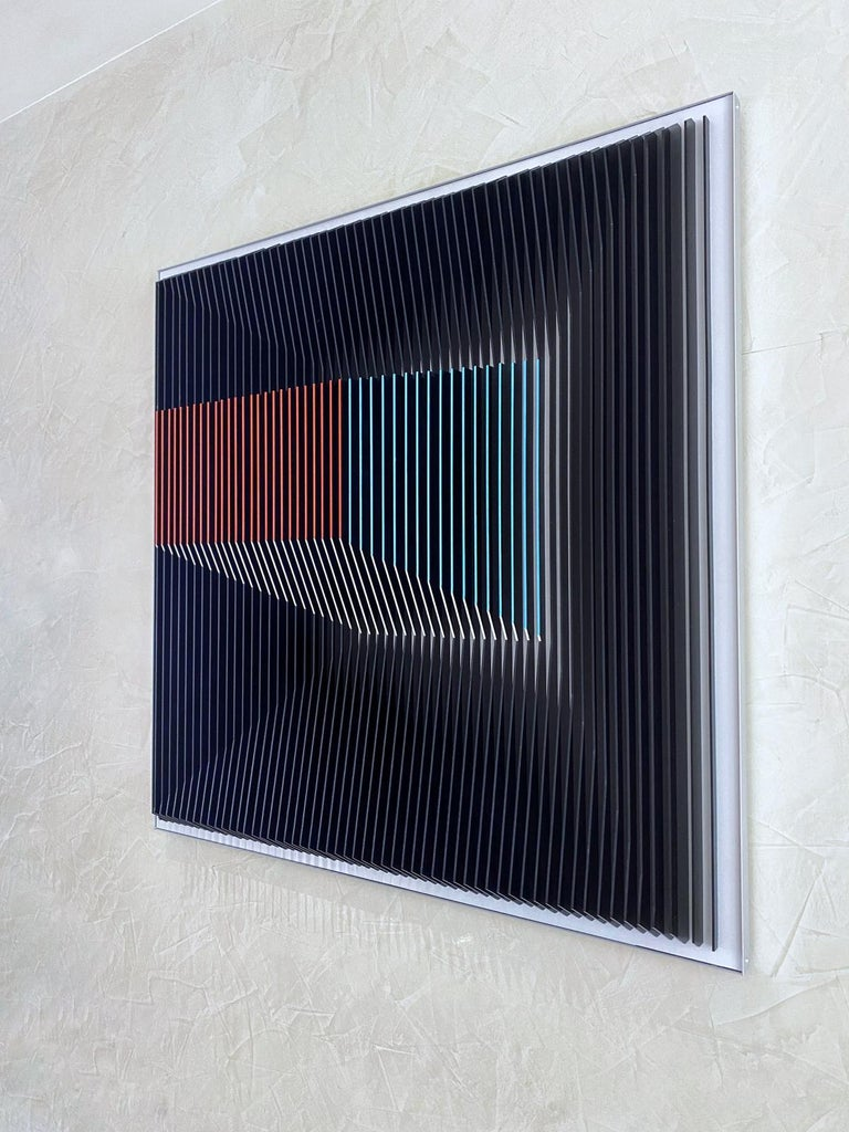 Jose Margulis Abstract Sculpture - J. Margulis - Displaced Illusion IX - kinetic wall sculpture