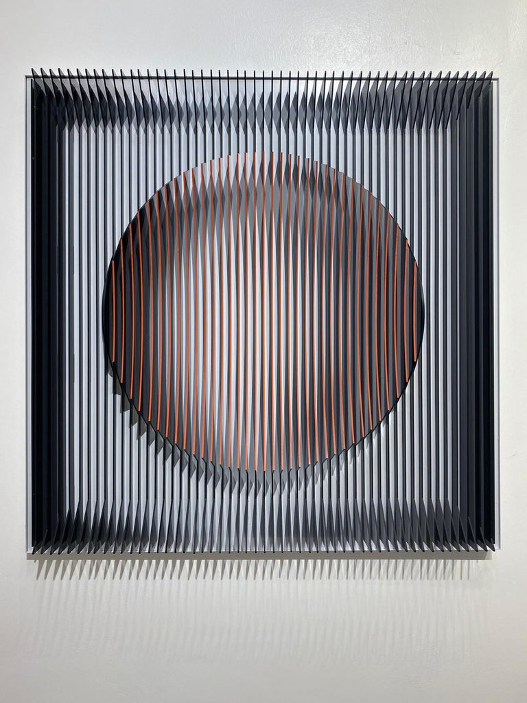 J. Margulis - Orange moon - kinetic wall sculpture  - Contemporary Mixed Media Art by Jose Margulis