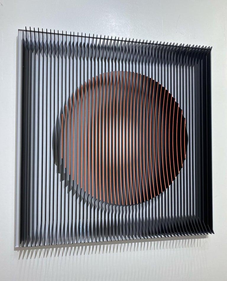 J. Margulis - Orange moon - kinetic wall sculpture  - Mixed Media Art by Jose Margulis