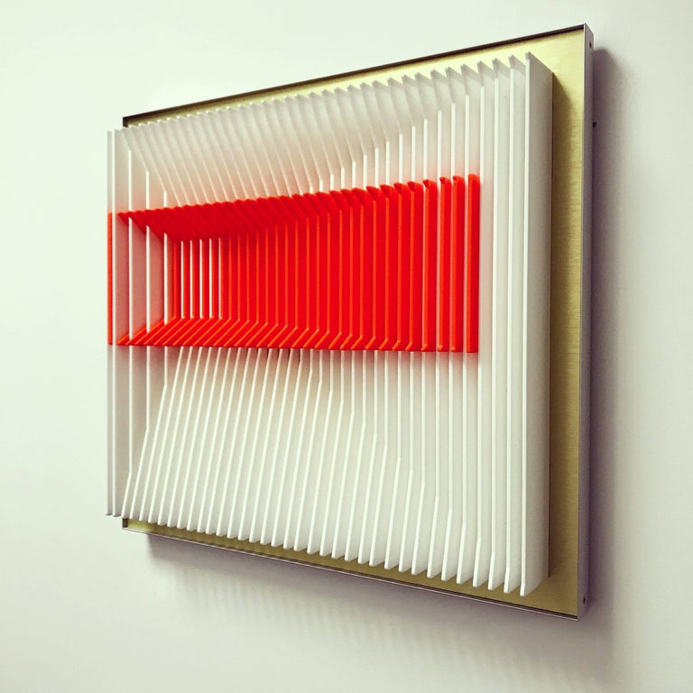 Jose Margulis Abstract Sculpture - Orange Inclined - Kinetic wall sculpture by J. Margulis