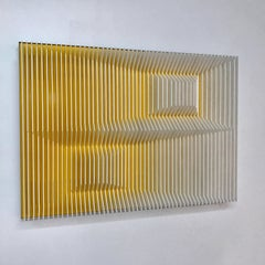 Yellow cross perpectives - abstract wall sculptures