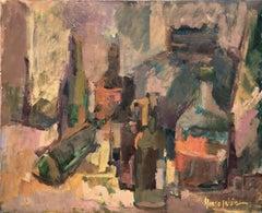 Still life of bottles oil on canvas painting