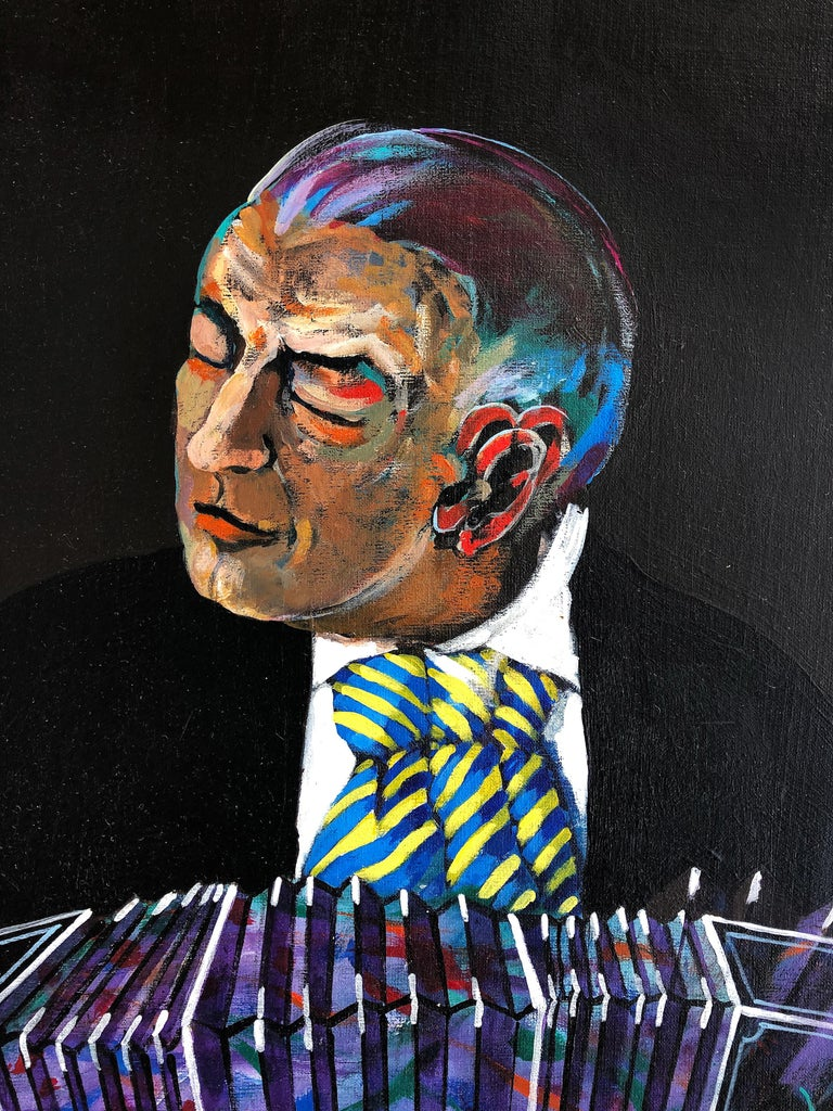 Jose Maria Ansalone Accordion Man painting on canvas  Offered for sale is an exquisite acrylic painting on canvas depicting a man playing a tango by the renowned Argentine artist Jose Mario Ansalone titled
