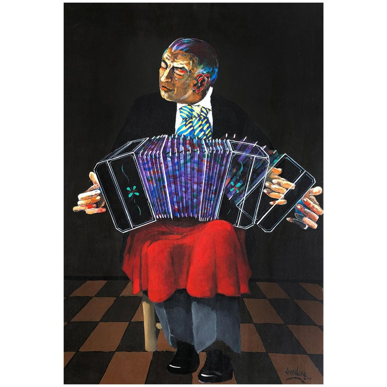 "Jose Mario Ansalone Accordion Man Painting on Canvas titled ""Tango in Motion"" For Sale"